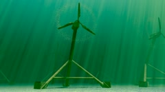 Underwater tidal turbines Clean renewable water energy electricity generator. Stock Footage