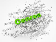 Music genre in text graphics Stock Illustration