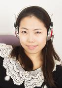 girl wearing headphones - stock photo