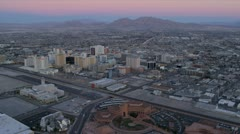 Aerial dusk view Las Vegas  city hotels, USA Stock Footage