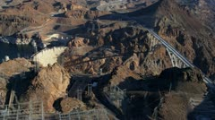 Aerial view Hoover Dam Colorado River Bridge, USA Stock Footage