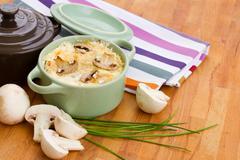 Mushroom julienne casserole dish Stock Photos