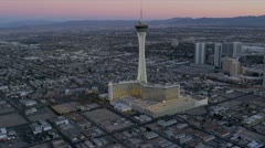 Aerial dusk view Stratosphere Tower Hotel, Las Vegas, USA Stock Footage