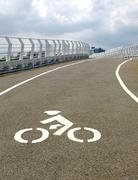 modern bicycle bridge - stock photo