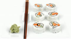 Japanese Cuisine - California Maki Roll made of Smoked Salmon Cream Cheese Stock Footage