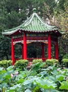 Stock Photo of chinese pavilion and lotus flowers