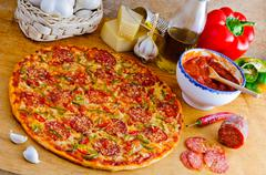 italian pizza and ingredients - stock photo