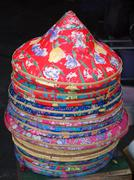 colorful chinese farmer hats - stock photo
