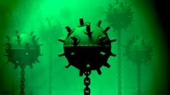 Underwater Sea mine danger weapon deadly naval ocean sea. Stock Footage