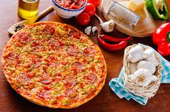 Italian pepperoni pizza Stock Photos