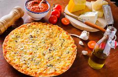 traditional cheese pizza - stock photo
