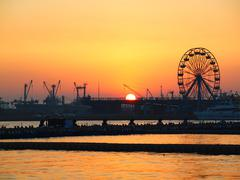 Stock Photo of sunset at kaohsiung port