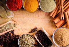 Frame with spices Stock Photos