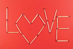 word love made of matchsticks - stock photo