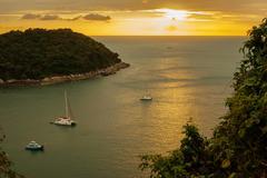 Sunset on the andaman sea, phuket viewpoint thailand; Stock Photos