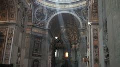 Inside San Pietro Basilica - Vatican Stock Footage
