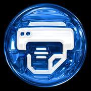 Printer icon blue, isolated on black background. Stock Illustration
