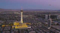 Aerial view Stratosphere Tower Hotel, Las Vegas, USA Stock Footage