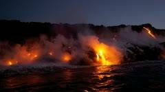 Stock Video Footage of Steam Rising Volcanic Lava Kilauea
