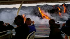 Tourist Boat Visitors Watching Lava Flowing Into Ocean hawaii Stock Footage