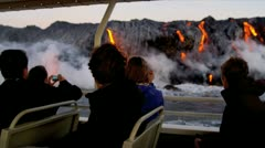 Visitors Watching Flowing Lava Tourist Boat Stock Footage
