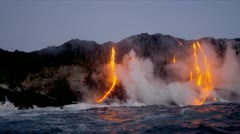 Steam Rising Kilauea Volcanic Lava - stock footage