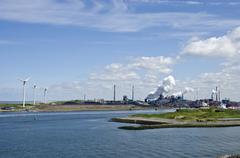 Industry, Environment And Green Energy In Port Of Ijmuiden,The Netherlands - stock photo