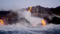 Red Hot Lava Falling Ocean Waves Hawaii Stock Footage