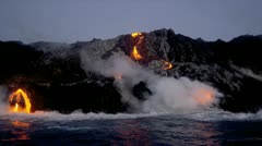 Volcanic Lava Pouring Into Ocean Kilauea Hawaii Stock Footage