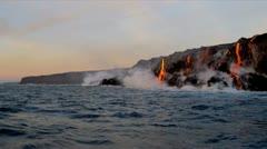 Volcanic Lava Pouring Into Ocean Big Island Hawaii Stock Footage