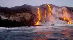 Volcanic Lava Pouring Into Ocean Big Island Hawaii Stock Footage