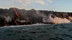 Stock Video Footage of Molten Lava Pouring into Ocean Kilauea Hawaii