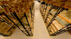 Warehouse interior boxes logistics industry. Factory cargo goods storage package - stock footage
