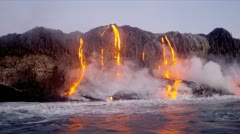 Molten Lava Pouring into Ocean Stock Footage