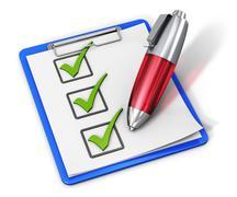 Checklist on clipboard and pen Stock Illustration
