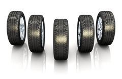 Set of car wheels Stock Illustration