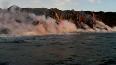 Red Hot Lava Falling Ocean Waves Hawaii - stock footage