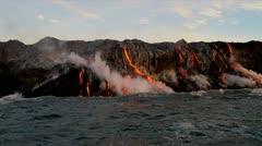 Molten Lava Causing Steam Ocean Waves - stock footage
