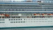 Luxury Passenger Liner Sailing Into Port Stock Footage