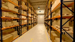 Warehouse interior boxes logistics industry. Factory cargo goods storage package Stock Footage