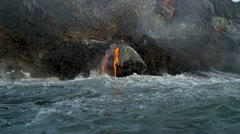 Molten Lava Pouring into Ocean Big Island Hawaii Stock Footage