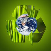 Stock Photo of recycle symbol made from grass