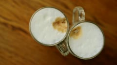 Two cups coffe latte Stock Footage