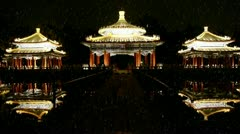 China Beijing ancient architecture pavilions reflection in pool water. Stock Footage