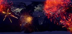 fireworks with earth at night image.new year on the earth.high resolution ima - stock photo