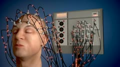 Man wired to an EEG machine Stock Footage