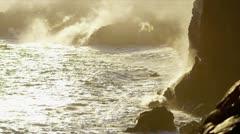 Billowing Steam Lava Falling Ocean Waves - stock footage