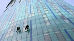 Skyscraper Window Cleaners Stock Footage