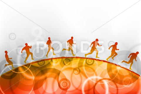 Stock Illustration of red running