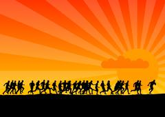 sunset running - stock illustration